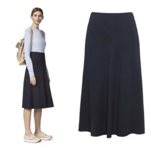 WHISTLES Maddy Fit & Glare Skirt in Navy